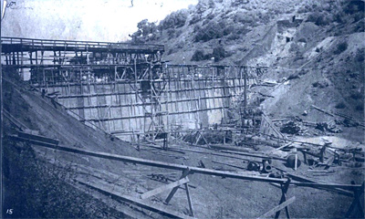 Searsville Dam under construction