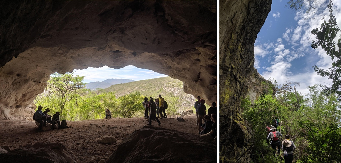 Guila Naquitz cave - the first known site of the domestication of maize and students hiking through a dry forest ecosystem