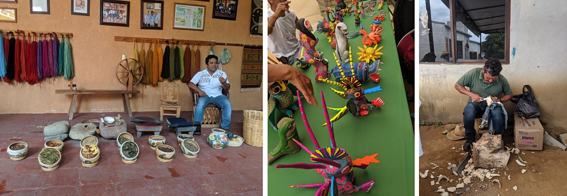 A demonstration on natural dying by a world renowned zapotec artist and  Alebrijes on display & being carved in a demonstration.