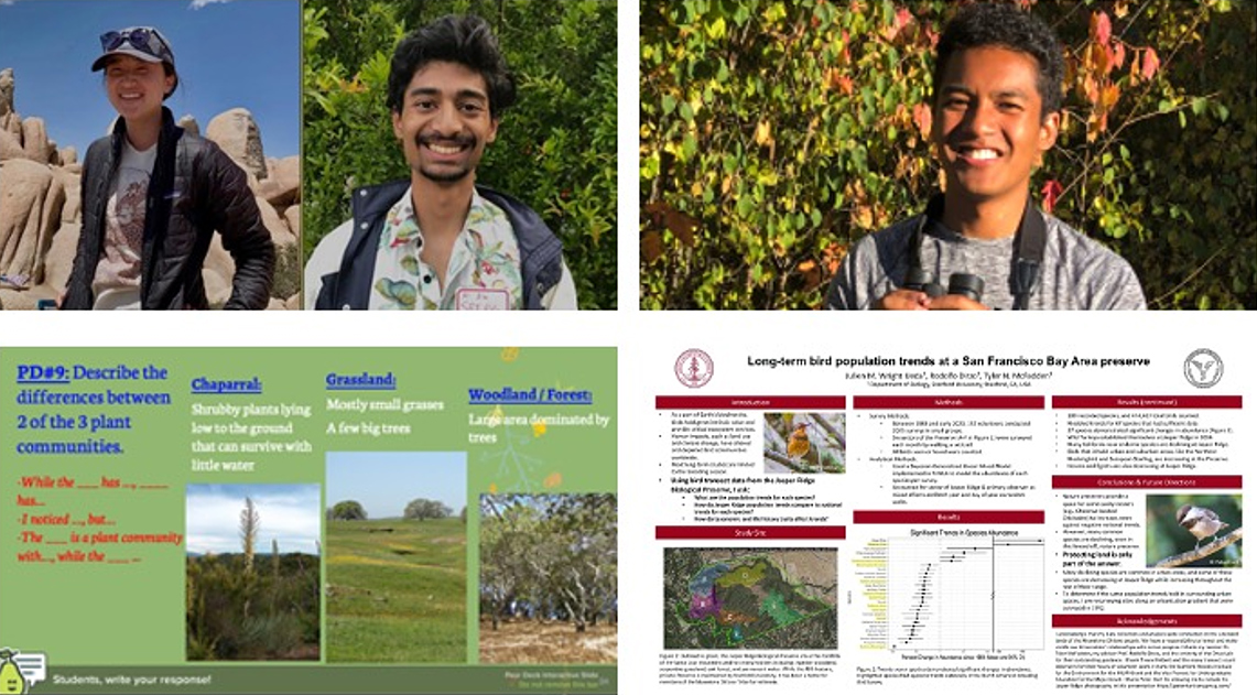 Figure 2. On the left, Sydney Schmitter and Sriram Narasimhan, recipients of the Jasper Ridge Environmental Education Scholar Award and below, an example of their educational material shared with the REAL program. On the right, Julien Ueda above his research poster presented during the 2021 ESA annual meeting.
