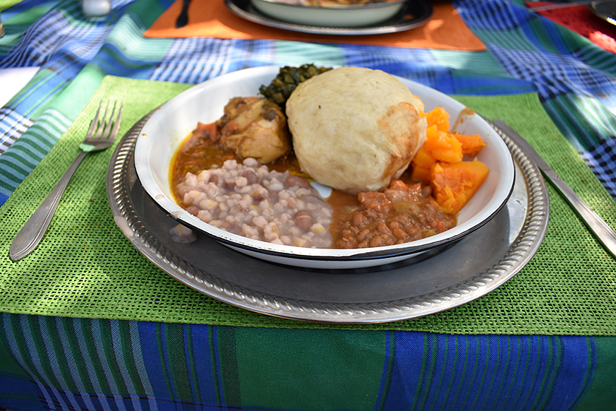 A delicious meal with traditional Botswana dishes