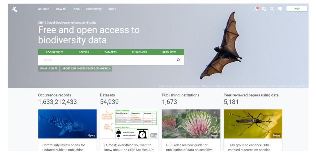 Figure 3. Global Biodiversity Information Facility interface (https://www.gbif.org/).