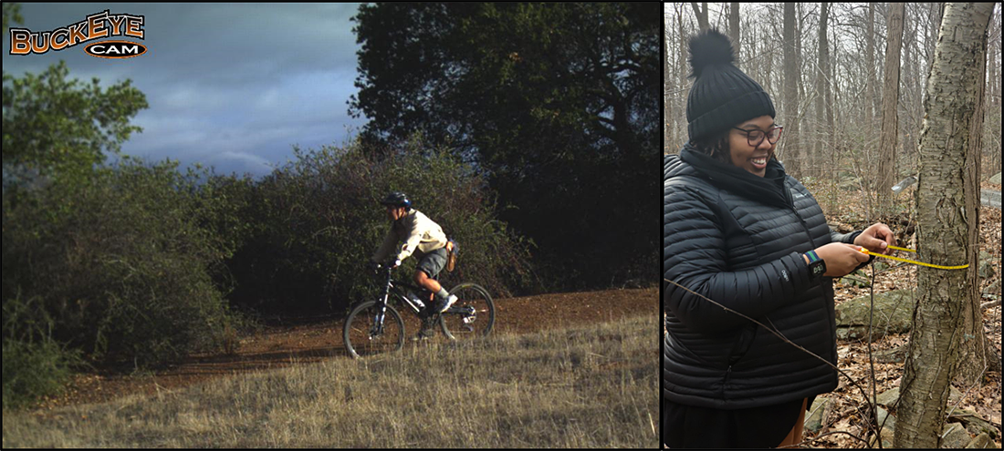 Figure 3. Ben Bravo as a Jasper Ridge bike ranger back in 2014 and Angie performing ecological research methods at Black Rock Forest.