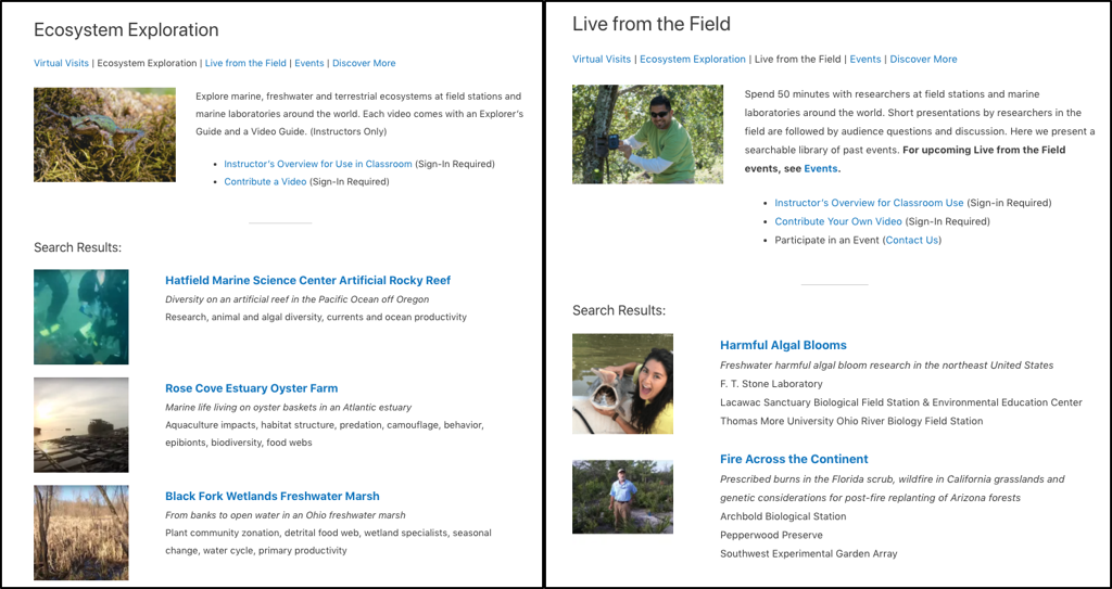"""Figure 4.The Virtual Field website hosts Ecosystem Exploration (EE) videos and a schedule of """"Live from the Field"""" events from biological field stations."""