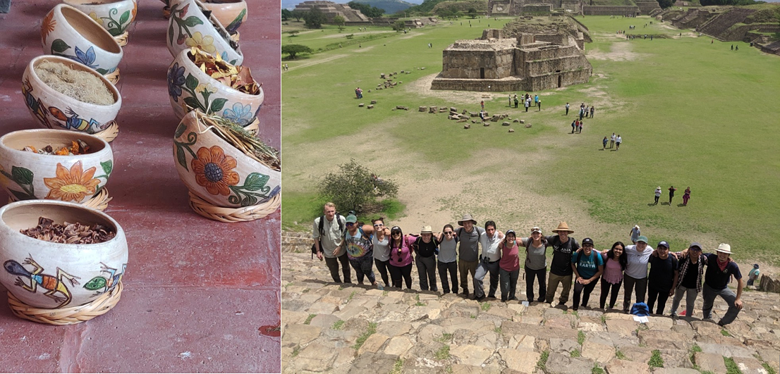Bowls holding various plants, fruits, and nuts, that will be used to make natural dyes in a textile workshop in Teotitlán. Group picture visiting and learning the cultural perspective of the Zapotec culture while visiting Monte Albán