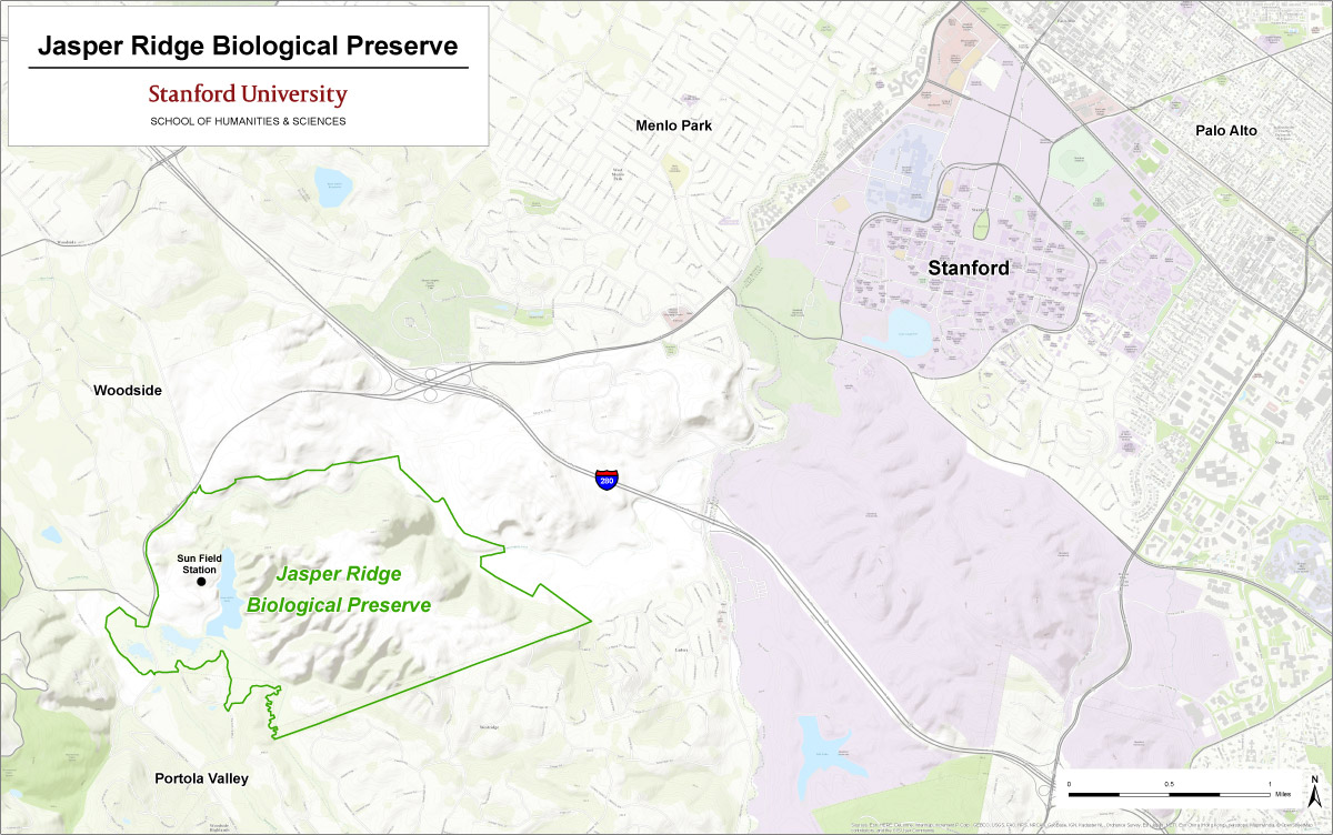 Location of Jasper Ridge Biological Preserve relative to main Stanford campus