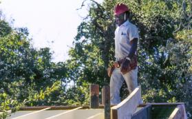 Leonard re-roofing bathhouse 1995