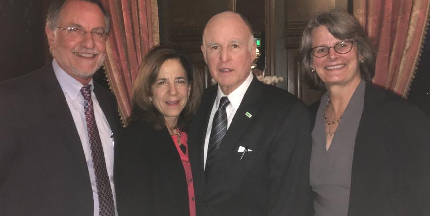 Tony Barnosky, Anne Gust Brown, Governor Jerry Brown, and Liz Hadly