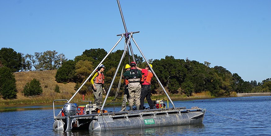 Sediment coring in Searsville Reservoir