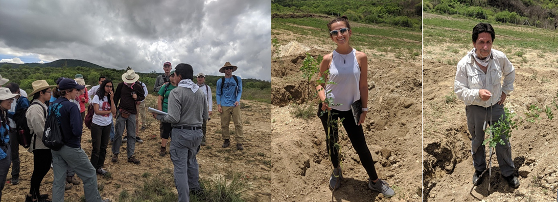 BCD course preparing to plant copal trees and Gabriela and Rodolfo with the trees they planted to support the local community's efforts to maintain this resource.