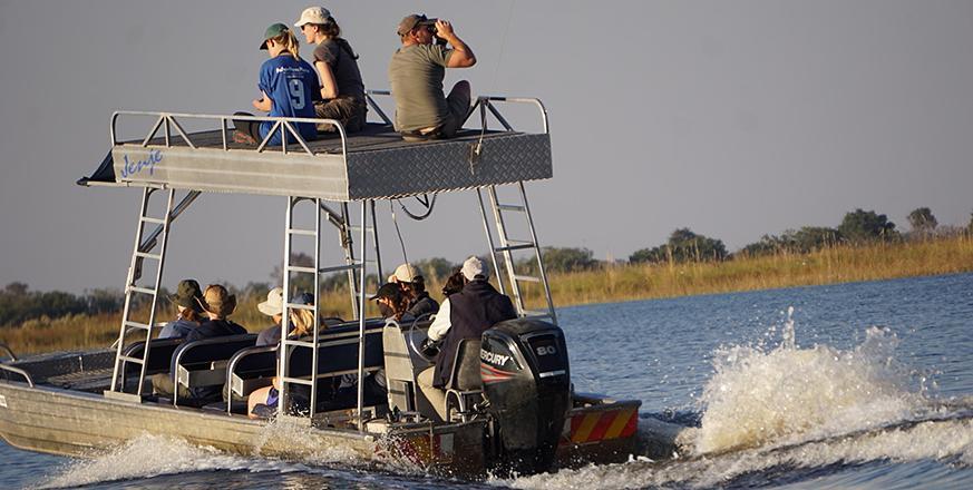 Boating upriver in Botswana
