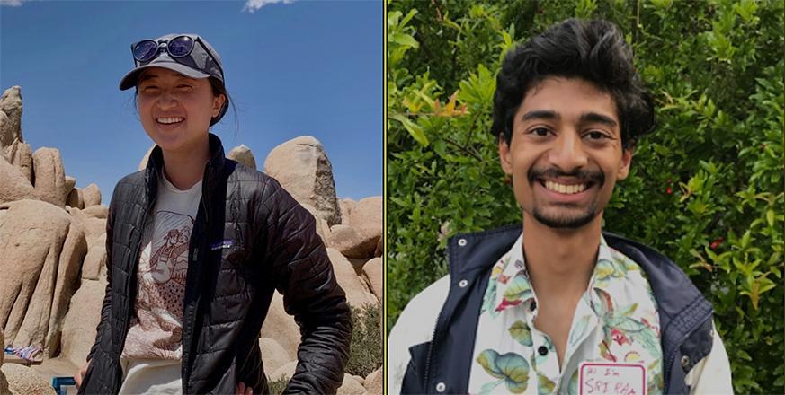 2021 Jasper Ridge Environmental Education Scholar Award winners: Sydney Lee Schmitter and Sriram R Narasimhan