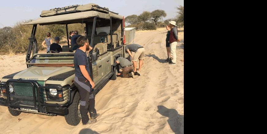 Stuck in the sand in Botswana