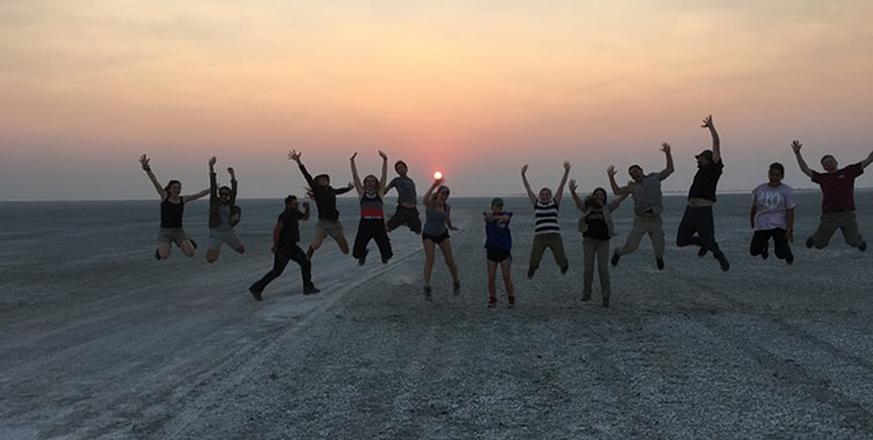 Students on the salt pan in Botswana