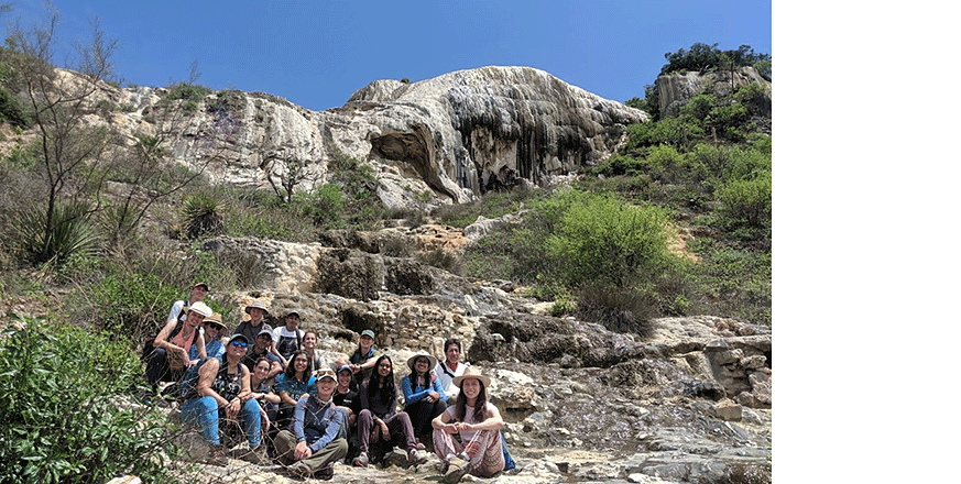 Bio-Cultural Diversity and Community-Based Conservation in Oaxaca group photo during a hike exploring the seasonally dry tropical forest of Hierve el Agua, Oaxaca