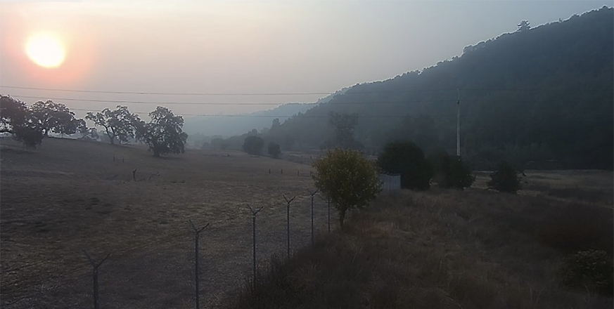 Smoke from wildfires seen over Jasper Ridge