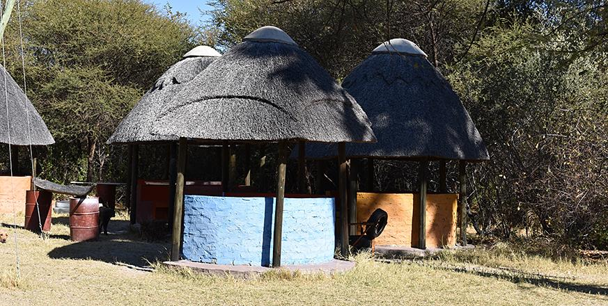 Thatched huts in Botswana
